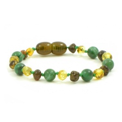 Green Amber and African Jade Mix Bracelet / Anklet